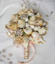 Shell Bouquet, Petite Body, Nautical Wedding, Ribbon Colors, Bridesmaid Bouquet, Special Day, Sea Shells, Wedding Colors, Wealth