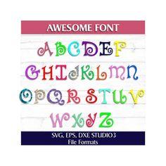 Awesome Monogram Font Cut Files-SVG, EPS, DXF, STUDIO3 file formats.
