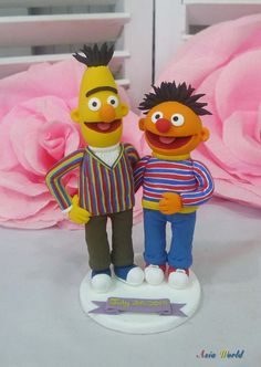 Wedding cake topper Bert and Ernie clay doll, grooms touch other's butt clay miniature, engagement clay figurine, ring holder clay couple by AsiaWorld on Etsy https://www.etsy.com/listing/198385512/wedding-cake-topper-bert-and-ernie-clay