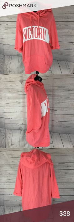 Victoria's Secret oversized hoodie sweater top Victoria's Secret hoodie top with 3/4 sleeves and kangaroo pockets in the front. Perfect for day time use, working out, or lounging around the house. EUC 💕 Victoria's Secret Sweaters