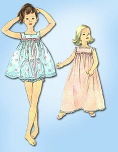 1950s Vintage Toddler's Nightgown & Pajamas 1958 Simplicity Sewing Pattern Sz 4 #Simplicity