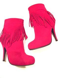 Hot pink fringe booties