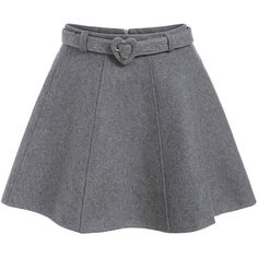 Zipper Belt A-Line Skirt (20 CAD) ❤ liked on Polyvore featuring skirts, grey, grey skirt, knee length a line skirt, gray a line skirt, zipper skirt and gray skirt