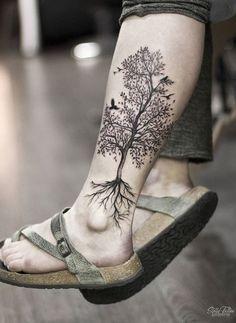 Bild Tattoos, Cute Tattoos, Beautiful Tattoos, Body Art Tattoos, Sleeve Tattoos, Awesome Tattoos, Tree Leg Tattoo, Calf Tattoo, I Tattoo