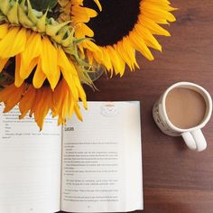Flowers, coffee, and books Book Flowers, Happy Flowers, Sunflower Pictures, Flat Lay Photography, Coffee Photography, Sunflower Fields, Sunflower Flower, Book Aesthetic, Coffee And Books