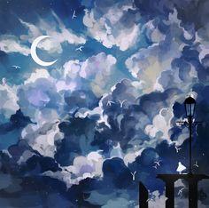 #blue #sky #moon #art