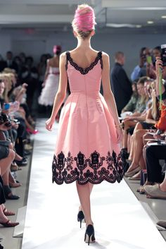 Oscar de la Renta - Spring 2013  (5/30/2013)  I would wear the dress, but not have pink in my hair like that.  (CTS)