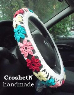 Car Accessories Car Gifts Crochet Wheel Cover Car Decor Wheel Cover for car Steer wheel Gift Wheel cover Steering wheel cover Gift H19042W