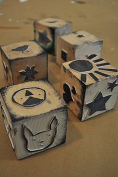 Stamps with self adhesive craft foam on wooden blocks