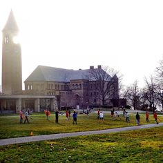 A game of field crumpets on the Arts Quad benefits from unseasonable 63-degree Fahrenheit weather Dec. 13. #cornell by cornelluniversity