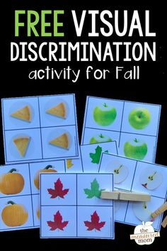 Grab this free printable visual discrimination activity for kids in preschool and kindergarten! Kids look at the pictures and clip the one that's different. Great for getting kids ready to recognize letters, numbers, and sight words! Fall Preschool, In Kindergarten, Preschool Activities, Autumn Activities, Learning Activities, Visual Motor Activities, Visual Perceptual Activities, Cognitive Activities, Toddler Learning