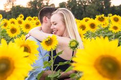 Simply Picturesque Maryland Wedding and Lifestyle Photographer couple in field full of sunflowers while he whispers sweet words while she is has her arms wrapped around him and smiling at what he says