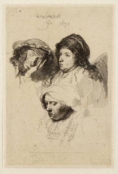 Mijn favoriete Rembrandt in Teylers Museum: Studieblad: drie vrouwenkoppen, n slapend (B368)
