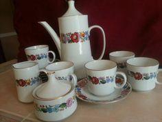 16 pc Kalocsa Hungary Porcelain COFFEE Tea Cup Pot Cream Sugar Saucer FLORAL