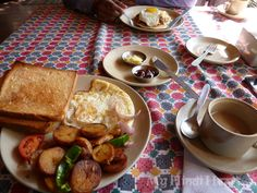 Our breakfast that morning. I had fried potatoes with bellpeppers and tomatoes, fried egg, and toast.