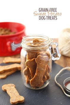 Treat your pup with these Grain-Free Sweet Potato Dog Treats made from just 5 wholesome and healthy ingredients. Your dog will love eating them as much as you enjoy spoiling them! Dog Biscuit Recipes, Dog Treat Recipes, Dog Food Recipes, Sweet Potato Dog Treats, Sweet Potatoes For Dogs, Homemade Dog Cookies, Homemade Dog Food, Puppy Treats, Diy Dog Treats