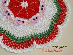 ✿⊱❥ PINK ROSE CROCHET: Centrinho de Natal com Papai Noel