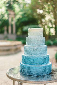 Five tier ombre blue wedding cake! | Rustic White Photography