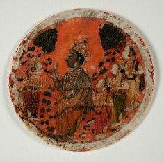 Rama and Four Warriors, Number Four of the Rama Suit, Playing Card from a Dashavatara (Ten Avatars) Ganjifa Set India, Maharashtra, Sawantwadi (?), mid-18th century
