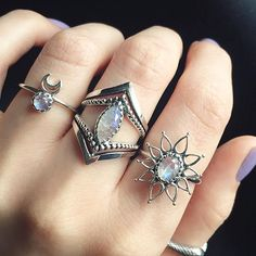 Obsessed with these rings at the moment All sterling silver and all available at www.emptycasket.co.uk✨ We ship worldwide! #emptycasket #sterlingsilver #rainbowmoonstone #gemstone #rings #jewellery #jewelry #moon #boho #witchy #grunge #silverjewellery