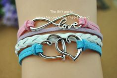 Antique Silver Infinity bracelet  Double love by TheGiftWorld, $3.50 Stylish handmade leather bracelet, the best gift of friendship.