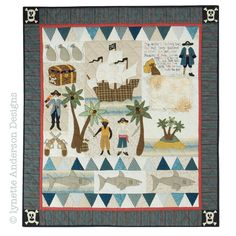 """Pirate Treasure, 39 x 45"""", applique quilt pattern by Lynette Anderson"""