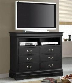 As the companion of this bed frames, there is Louis Philippe TV Dresser Stand Style in Deep Black Finish.It measured: 47 inches Long, 18 inches Wide, and 40 inches High.The TV dresser stand Finish is Deep Black. The Material is made of Solids, Dresser Tv Stand, Dresser With Tv, Dresser Top, Dresser Ideas, Bedroom Tv Stand, Tv In Bedroom, Bedroom Dressers, Master Bedroom, Anderson Freire