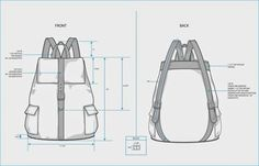 The Spinsterhood Diaries: Sample Fashion Project: Backpack Tech Pack Sac Vanessa Bruno, Tech Pack, Backpack Pattern, Hiking Bag, Leather Pattern, Fashion Project, Denim Bag, Technical Drawing, Leather Projects