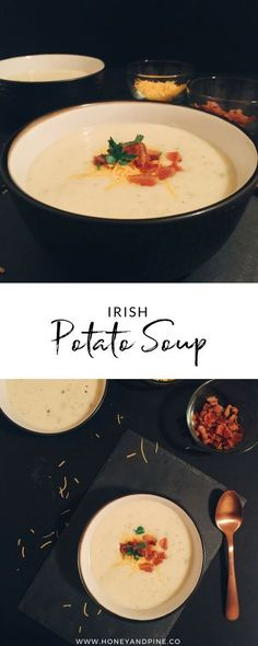 This Irish Potato Soup is an affordable and easy-to-make soup to feed a crowd. The potatoes and onions break down into a creamy seasoned soup you can garnish a variety of ways although we prefer a sprinkling of parsley. When we're feeling spunky we'll top this potato soup with cheddar cheese and bacon. #PotatoSoup #SoupRecipes #FallRecipes #Potatoes #PotatoRecipe #SimpleRecipes #CheapRecipes #EasyDinnerRecipes