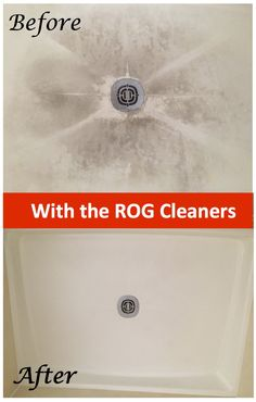 I used a combination of both products to remove 20 year old soap scum imbedded in a nonslip shower floor. Nothing worked for the past 20 years until I found ROG on the Internet. After 3 separate cleanings, the shower floor looks brand new. I was impressed to say the least. Give it a second and third cleaning if your first attempt does not do the trick. My wife could not believe the difference after she returned home after my 1 hour cleaning project. This stuff really works ! Neal-St.Louis,Mo.