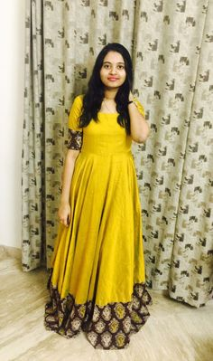 Mustard yellow South Indian Fashion Gown is part of Kalamkari dresses - Buy Online Mustard yellow South Indian Fashion Gown From Mongoosekart com Long Gown Dress, Frock Dress, Long Gowns, Long Dresses, Long Frock, Dresses Dresses, Trendy Dresses, Saree Gown, Anarkali Dress