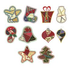 Christmas Patch Applique Machine Embroidery Designs | Designs by JuJu