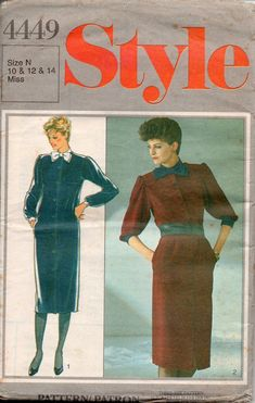 Style 4449 Button Front Dress 80s Vintage Sewing Pattern 12 14 16 UNCUT Factory Folded