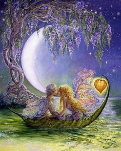 Wisteria Moon  Drifting gently in a leaf boat lit by a fairy lantern, two fairies enjoy a romantic tryst. On a starlit night, beneath the boughs of an aged wisteria in full bloom, it's irresistible perfume fills the air. The lilac moonlight reflecting on the river just adds to the magic of that moment, and they cannot resist their first kiss, because even fairies fall in love you know.!    Josephine.