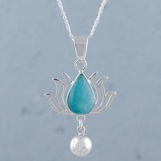 Amazonite pendant necklace, 'Flaming Drop' - Amazonite and Sterling Silver Flower Necklace from Peru