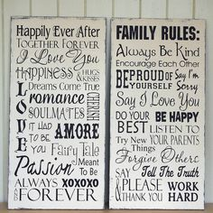 Romance & Family hand painted signs