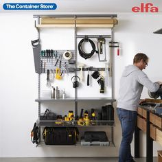 Create DIY workspace of your dreams with Elfa! Contact us today for a free custom design. (Shown: Elfa Classic in Platinum) Custom Shelving, Closet System, Pick Up In Store, Garage Organization, Custom Design, Kitchen Appliances, Dreams, Classic, Diy