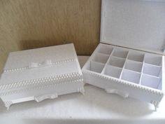 Caixa em mdf forrada em tecido tamanho COM 12 DIVISÕES 9.-A X 24-L X 32-C ( preço para uma unidades )