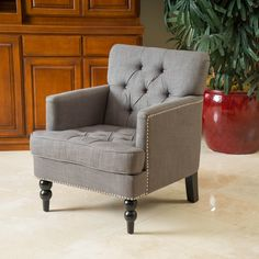 Noble House Liam Charcoal Grey Club Chair, Black