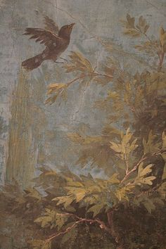 Roman fresco detail with blackbird, Villa of Livia, Prima Porta