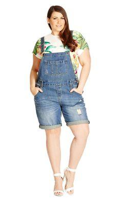 Women's Plus Size Denim Overall Short | City Chic USA