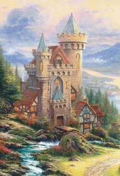 Thomas Kinkade Guardian Castle Cross Stitch Pattern***L@@K***~~ I SEND WORLD-WIDE ~~