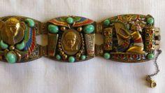 Art Deco Max Neiger Egyptian Revival Link Bracelet, Barbara Jones Collection