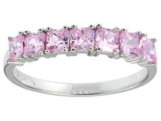 Bella Luce(R) 1.89ctw Cushion Pink Diamond Simulant Sterling Silver 7 Stone Ring