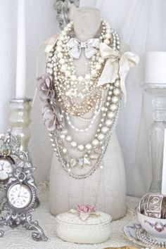 I love this idea for a mini form to be placed on a vintage vanity displaying jewelry.