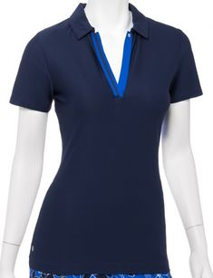 If you're in the market for some new outfits, consider our women's apparel! Shop this comfortable and stylish OUT OF THE BLUE (Inky Multi) EP New York Ladies & Plus Size Short Sleeve Golf Polo Shirt from Lori's Golf Shoppe.