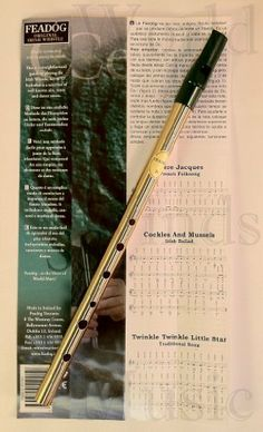 """Feado'g Original Irish Penny Whistle by Feado'g Teoranta. $15.95. Music for 3 songs. Traditional key of D. Comes with  a finger chart. Feadog Irish tin whistle in the key of """"D'"""