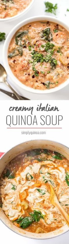 Italian Quinoa Soup This CREAMY Italian Quinoa Soup is thick, hearty and made without any actual cream! [vegan]This CREAMY Italian Quinoa Soup is thick, hearty and made without any actual cream! Healthy Soup Recipes, Vegetarian Recipes, Cooking Recipes, Easy Recipes, Tasty Meals, Healthy Eats, Quinoa Soup, Vegan Soups, Paleo Vegan