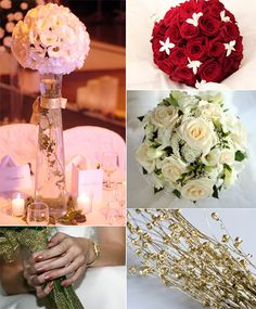 gold white winter bouquets