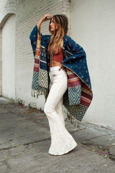 Coat: blanket boho gypsy white pants boho pants flare pants 70s style crop tops crochet crop top